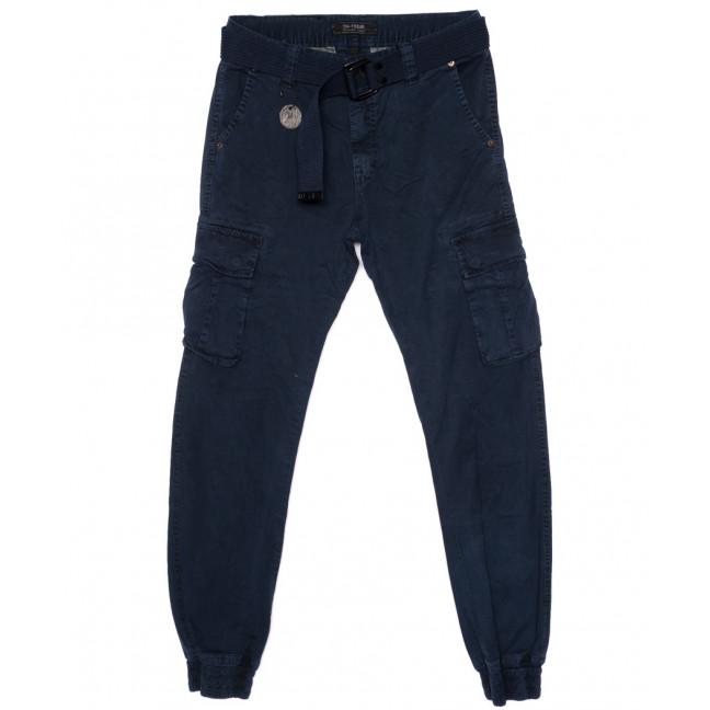 1905-7 In Yesir брюки мужские джоггеры с накладными карманами синие весенние стрейч-котон (29-38, 8 ед.) In Yesir: артикул 1094023