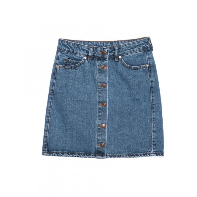1981 X юбка джинсовая на пуговицах синяя осенняя котоновая (XS-L, 6 ед.) X: артикул 1096758