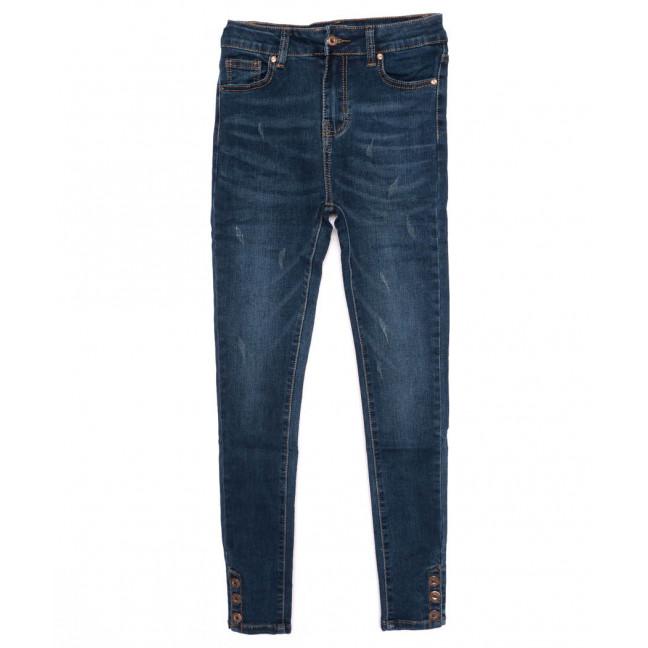 3376 New jeans американка с царапками синяя осенняя стрейчевая (25-30, 6 ед.)  New Jeans: артикул 1098619