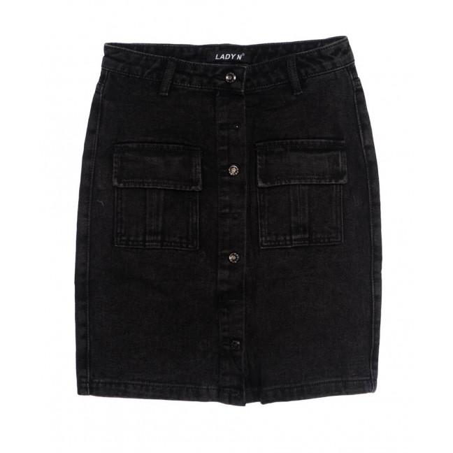 1353 Lady N юбка джинсовая на пуговицах черная осенняя котоновая (25-30, 6 ед.) Lady N: артикул 1097530