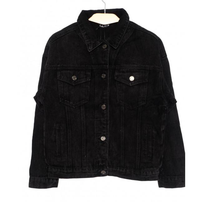 1384 Lady N куртка джинсовая женская черная осенняя котоновая (L-4XL, 6 ед. : артикул 1097848-1
