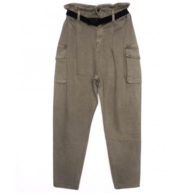 2021-2 X брюки женские на поясе стильные светло-серые осенние стрейчевые (S-2XL, 5 ед.)  X: артикул 1097448