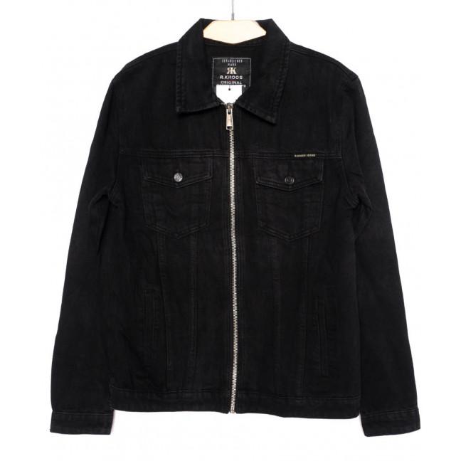 1001 R.Kroos куртка мужская джинсовая на змейке черная осенняя котоновая (M-4XL, 6 ед.) R.Kroos: артикул 1098207