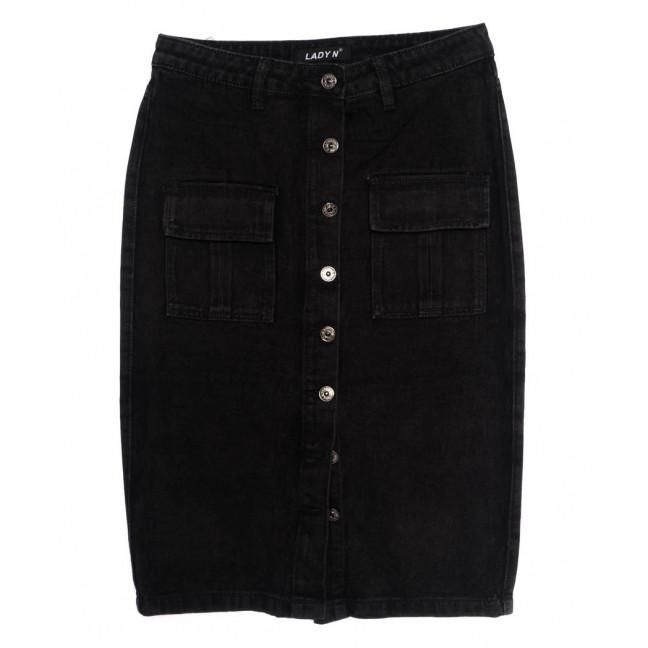 1355 Lady N юбка джинсовая батальная черная осенняя котоновая (28-33, 6 ед.) Lady N: артикул 1097531