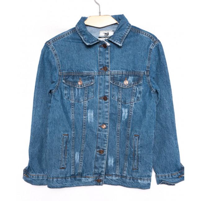 3371 YMR Moda куртка джинсовая женская с царапками синяя осенняя котоновая (S-XL, 4 ед.) YMR moda: артикул 1098556