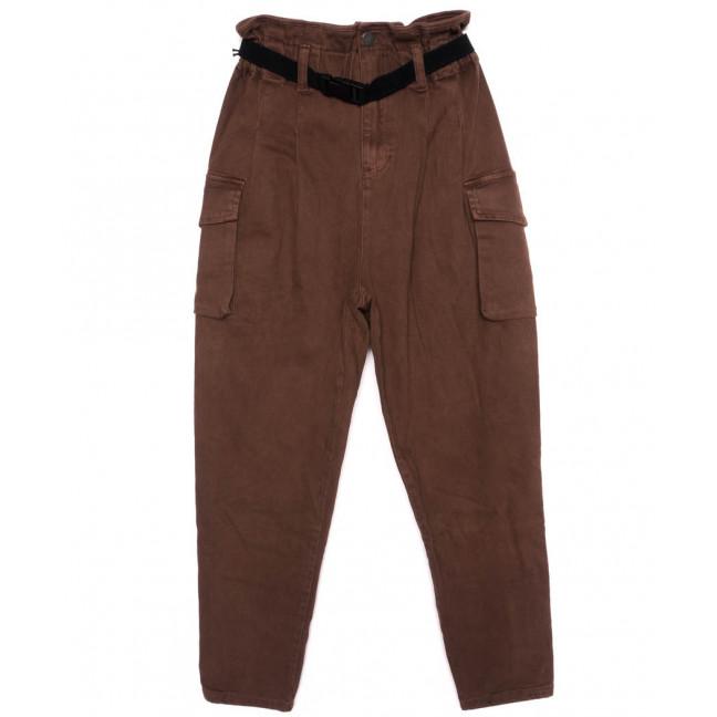 2021-3 X брюки женские на поясе стильные коричневые осенние стрейчевые (S-2XL, 5 ед.)  X: артикул 1097450