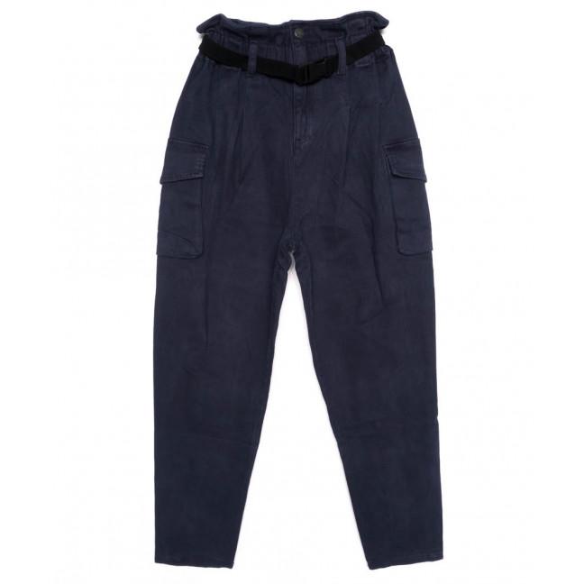 2021-4 X брюки женские на поясе стильные синие осенние стрейчевые (S-2XL, 5 ед.)  X: артикул 1097446