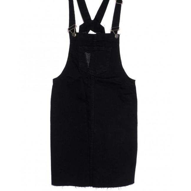 0910-черный Defile сарафан джинсовый с царапками черный осенний котоновый (34-40, евро, 6 ед.) Defile: артикул 1099229
