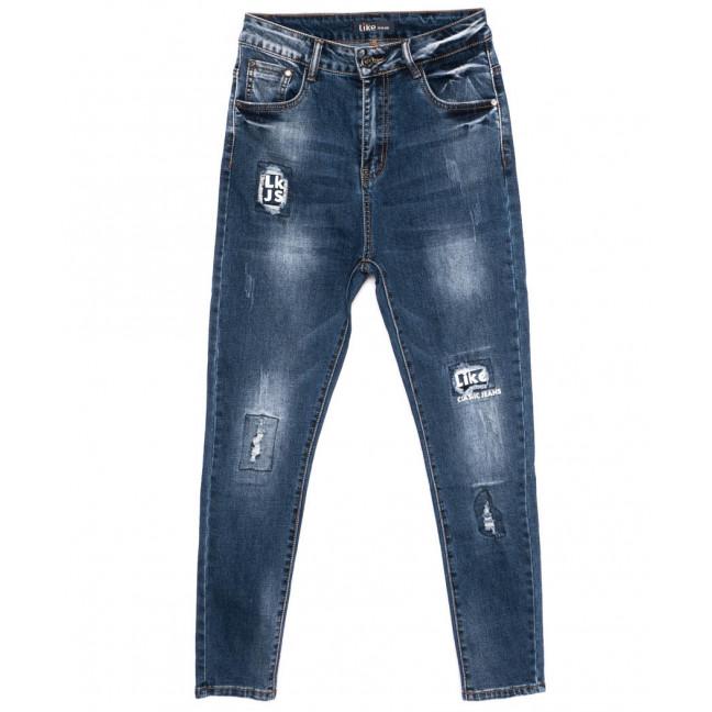 6156-2 Like джинсы женские батальные с царапками модные синие осенние стрейчевые (28-33, 6 ед.) Like: артикул 1098990