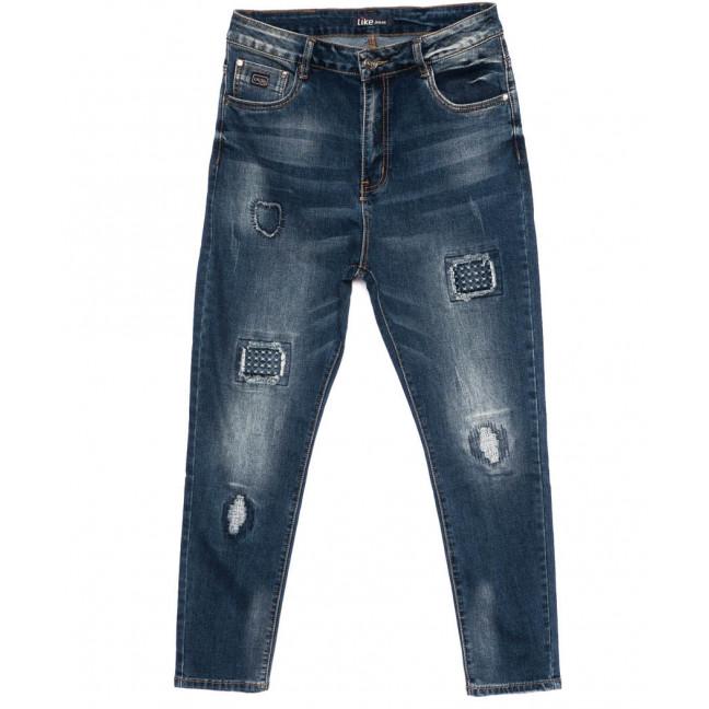 6157-3 Like джинсы женские батальные с царапками модные синие осенние стрейчевые (31-38, 6 ед.) Like: артикул 1098989