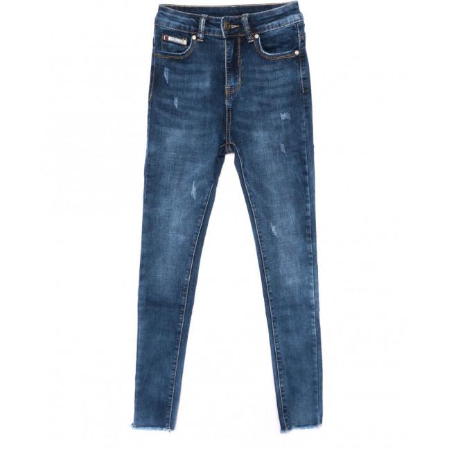 3462 New jeans американка с царапками синяя осенняя стрейчевая (25-30, 6 ед.) New Jeans: артикул 1099323