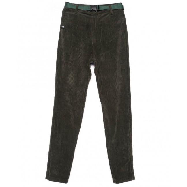 1497 Lady N брюки женские темно-зеленые вельветовые весенние стрейчевые (25-30, 6 ед.) Lady N: артикул 1102836