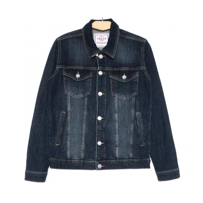 4607 Gecce куртка джинсовая мужская темно-синяя весенняя стрейчевая (S-ХХL, 6 ед.) Gecce: артикул 1105624