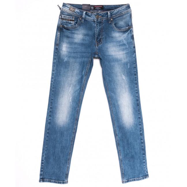 9437 God Baron джинсы мужские с царапками синие весенние стрейчевые (29-38, 8 ед.) God Baron: артикул 1105459