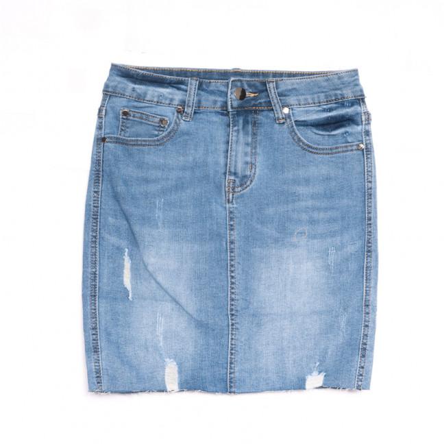 3754 New Jeans юбка джинсовая с рванкой синяя весенняя коттоновая (25-30, 6 ед.) New Jeans: артикул 1107028