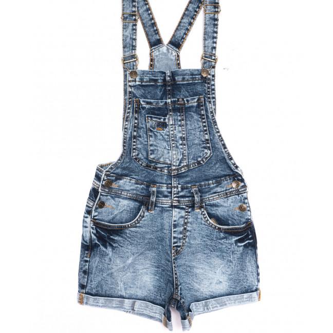 6625-5 Y Relucky комбинезон-шорты джинсовый с царапками синий стрейчевый (25-30, 6 ед.) Relucky: артикул 1106542