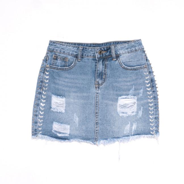 3733 New Jeans юбка джинсовая с рванкой синяя весенняя коттоновая (25-30, 6 ед.) New Jeans: артикул 1107007