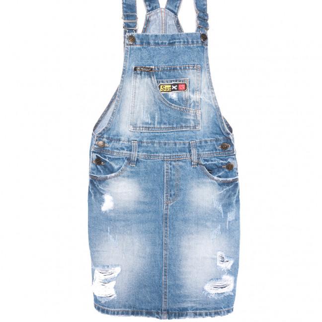 0882-2 Y Relucky сарафан джинсовый с рванкой синий весенний коттоновый (25-30, 6 ед.) Relucky: артикул 1106107