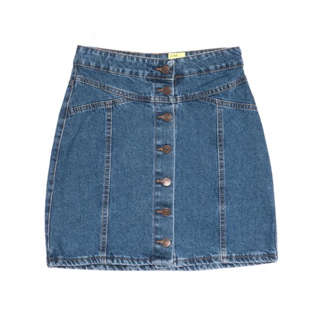 1913 юбка джинсовая на пуговицах синяя весенняя коттоновая (XS-L, 6 ед.) Юбка: артикул 1106917