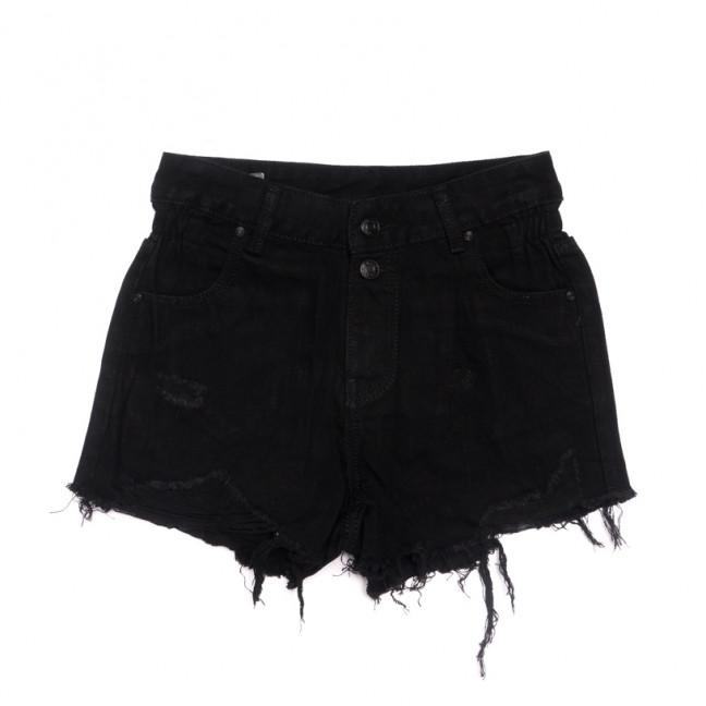 3692 New Jeans шорты джинсовые женские с рванкой черные коттоновые (25-30, 6 ед.) New Jeans: артикул 1107080