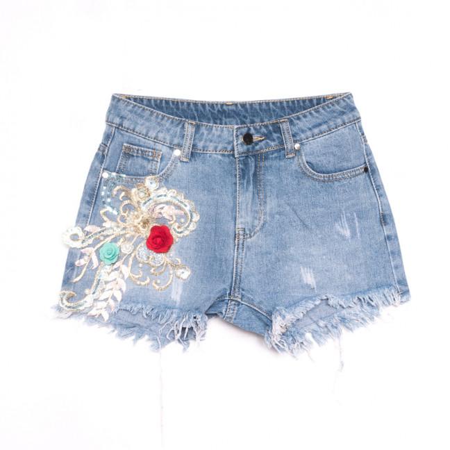 3689 New Jeans шорты джинсовые женские с аппликацией синие коттоновые (25-30, 6 ед.) New Jeans: артикул 1106979