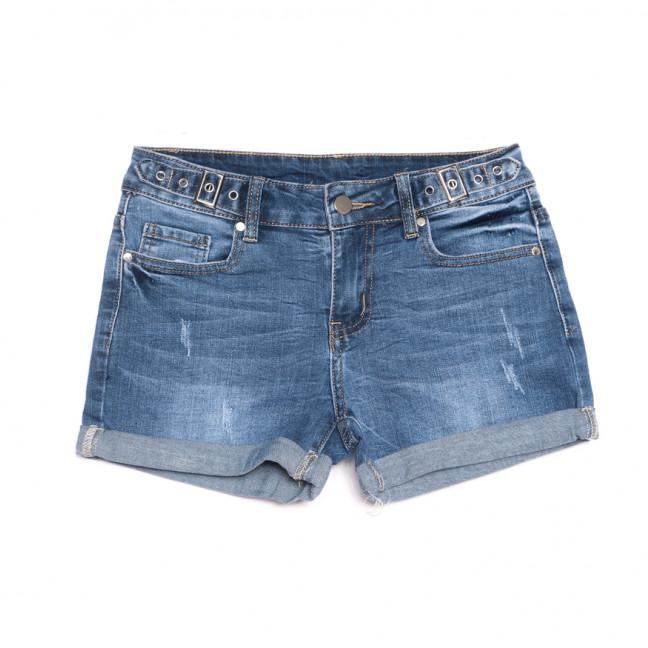 3745 New Jeans шорты джинсовые женские с царапками синие стрейчевые (25-30, 6 ед.) New Jeans: артикул 1107030