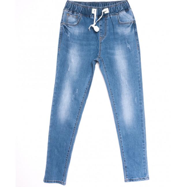 9482 LDM джинсы женские на резинке полубатальные с царапками синие весенние стрейчевые (28-33, 6 ед.) LDM: артикул 1106055