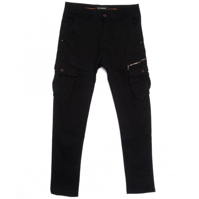 1760-13 M.Sara брюки карго мужские черные весенние стрейчевые (30-40, 6 ед.) M.Sara: артикул 1106157