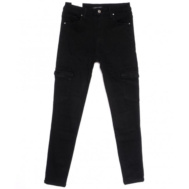 9079-1 черные Saint Wish джинсы женские с боковыми карманами полубатальные весенние стрейчевые (28-33, 6 ед.) Saint Wish: артикул 1105812