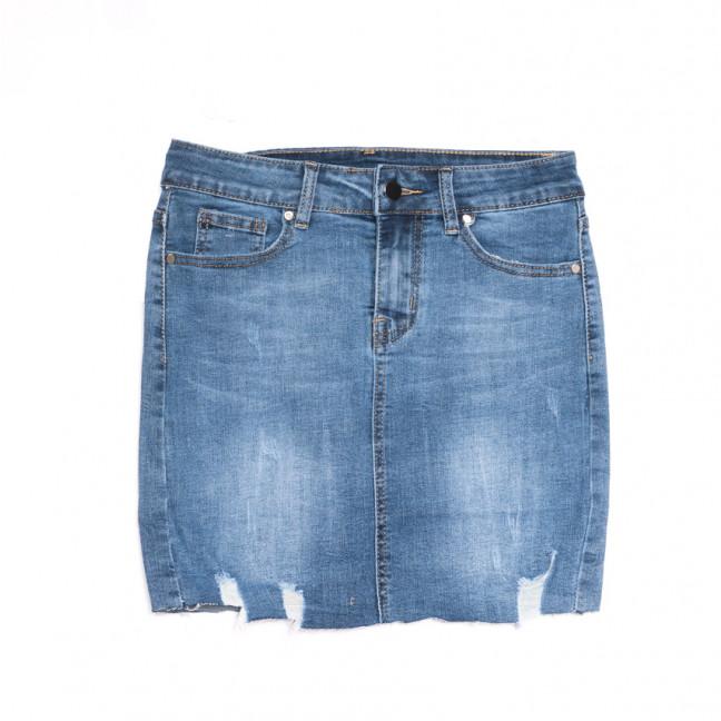 3757 New Jeans юбка джинсовая с рванкой синяя весенняя стрейчевая (25-30, 6 ед.) New Jeans: артикул 1107050
