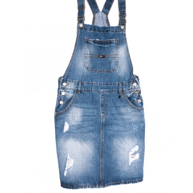0883-2 Y Relucky сарафан джинсовый полубатальный с рванкой синий весенний коттоновый (28-33, 6 ед.) Relucky: артикул 1105966