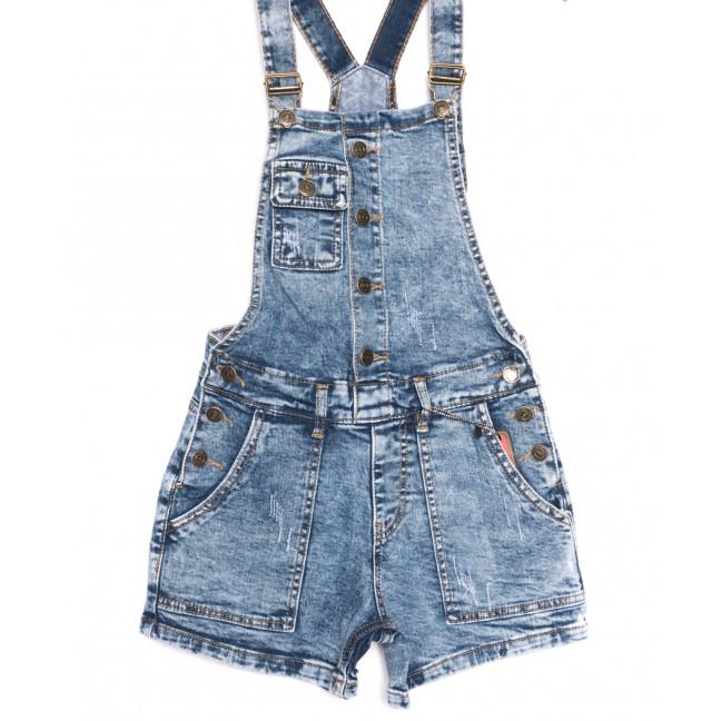 6631-5 Y Relucky комбинезон-шорты джинсовый с царапками синий стрейчевый (25-30, 6 ед.) Relucky: артикул 1106535