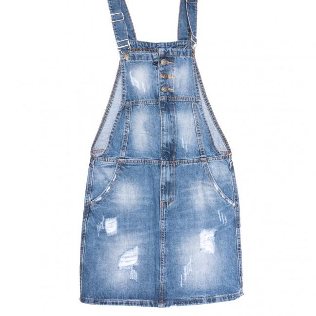0228-1 Y Relucky сарафан джинсовый с рванкой синий весенний коттоновый (25-30, 6 ед.) Relucky: артикул 1106109