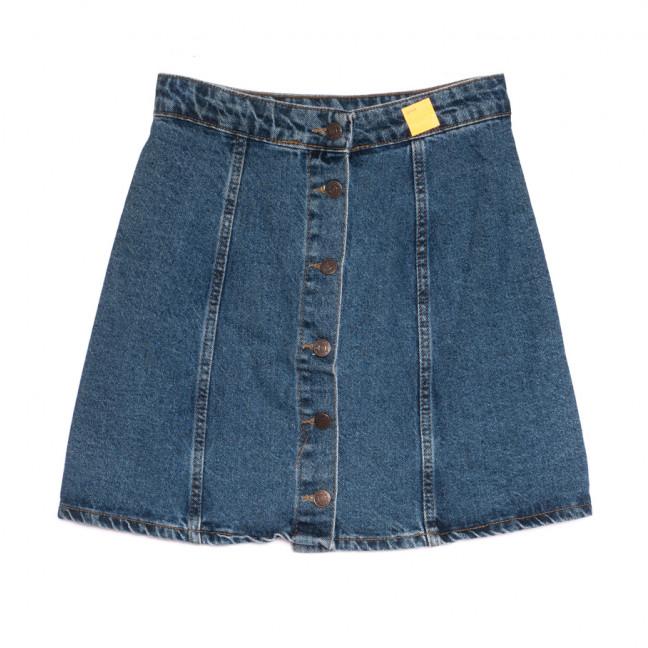 0101 юбка джинсовая на пуговицах синяя весенняя коттоновая (24-30, 8 ед.) Юбка: артикул 1106926