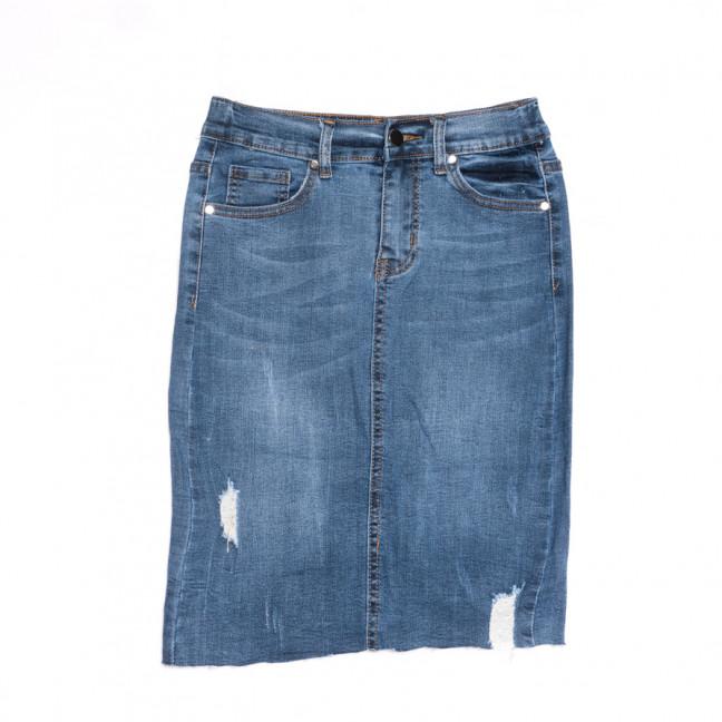 3755 New Jeans юбка джинсовая с рванкой синяя весенняя стрейчевая (25-30, 6 ед.) New Jeans: артикул 1107049