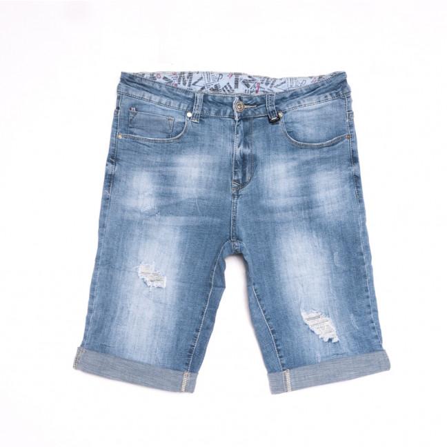 2064 New Jeans шорты джинсовые мужские с рванкой синие стрейчевые (29-38, 8 ед.) New Jeans: артикул 1107019