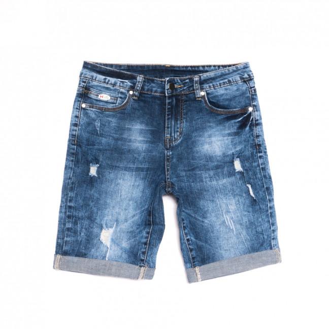 3758 New Jeans шорты джинсовые женские полубатальные с рванкой синие стрейчевые (28-33, 6 ед.) New Jeans: артикул 1107037