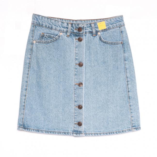 1981 юбка джинсовая на пуговицах голубая весенняя коттоновая (XS-L, 6 ед.) Юбка: артикул 1106922