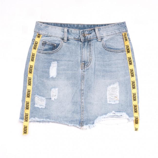 3741 New Jeans юбка джинсовая с рванкой синяя весенняя коттоновая (25-30, 6 ед.) New Jeans: артикул 1107013