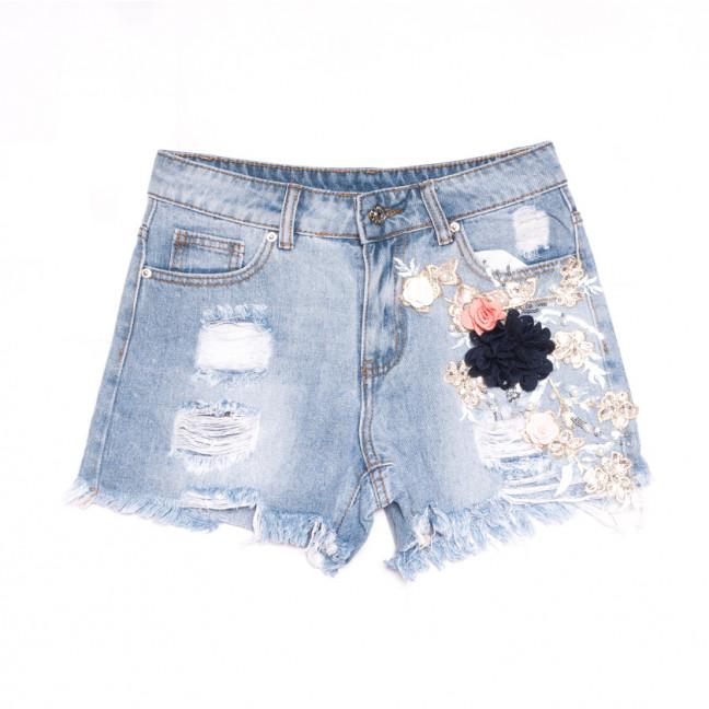3690 New Jeans шорты джинсовые женские с аппликацией синие коттоновые (25-30, 6 ед.) New Jeans: артикул 1106967