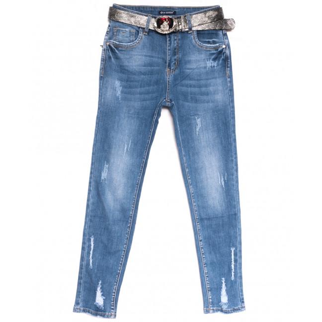 9506 LDM джинсы женские полубатальные с рванкой синие весенние стрейчевые (28-33, 6 ед.) LDM: артикул 1106390