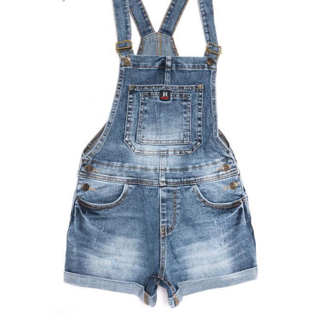 6612-2 Y Relucky комбинезон-шорты джинсовый с царапками синий стрейчевый (25-30, 6 ед.) Relucky: артикул 1106536