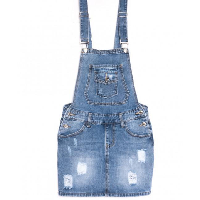 3674 New Jeans сарафан джинсовый с рванкой синий весенний коттоновый (25-30, 6 ед.) New Jeans: артикул 1106984