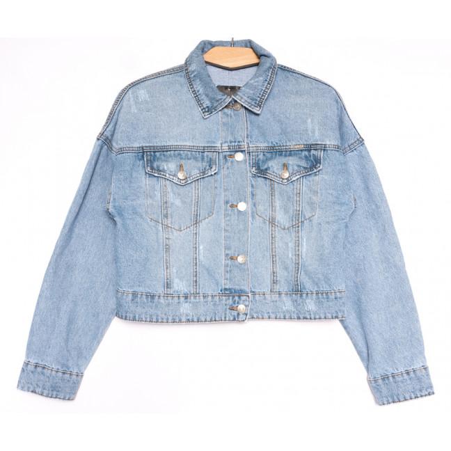 0807 KT.Moss куртка джинсовая женская с царапками голубая весенняя коттоновая (S-L, 6 ед.) KT.Moss: артикул 1106462
