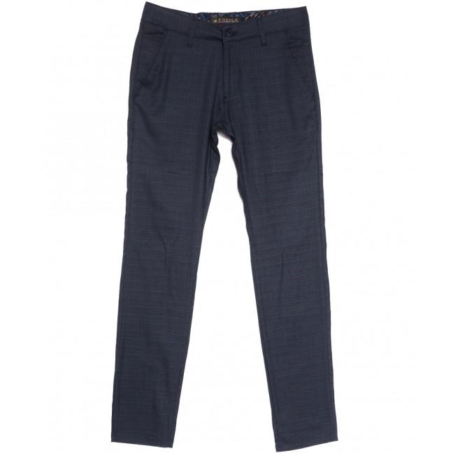 0002-K Konica брюки мужские темно-синие в клетку весенние стрейчевые (30-38, 7 ед.) Konica: артикул 1105837