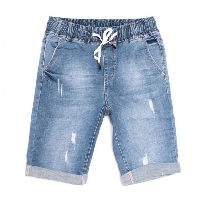 2063 New jeans шорты джинсовые мужские на резинке с царапками синие стрейчевые (29-38, 8 ед.) New Jeans: артикул 1106416