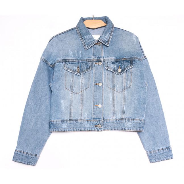 0809 KT.Moss куртка джинсовая женская с царапками синяя весенняя коттоновая (S-L, 6 ед.) KT.Moss: артикул 1106459