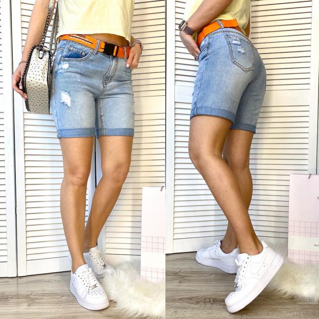 3707 New Jeans шорты джинсовые женские с рванкой синие коттоновые (25-30, 6 ед.) New Jeans: артикул 1106974
