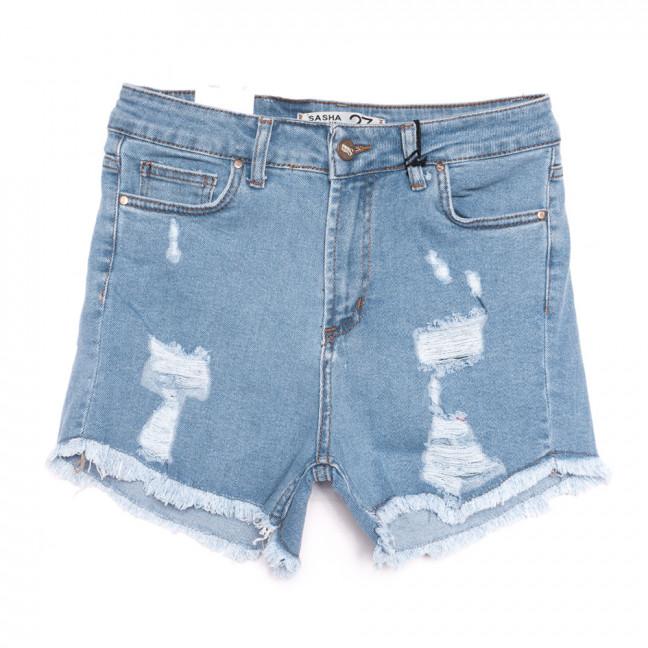 19170 Sasha шорты джинсовые женские с рванкой синие стрейчевые (26-31, 8 ед.) Sasha: артикул 1107741