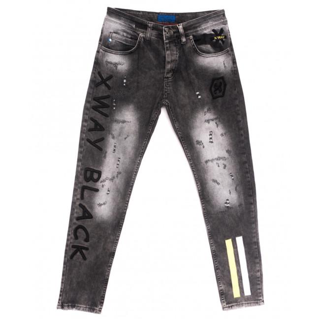 6357 Xway джинсы мужские с рванкой серые весенние стрейчевые (29-36, 8 ед.) Xway: артикул 1107771